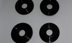 Black plastic handle escutcheons (set of 4)